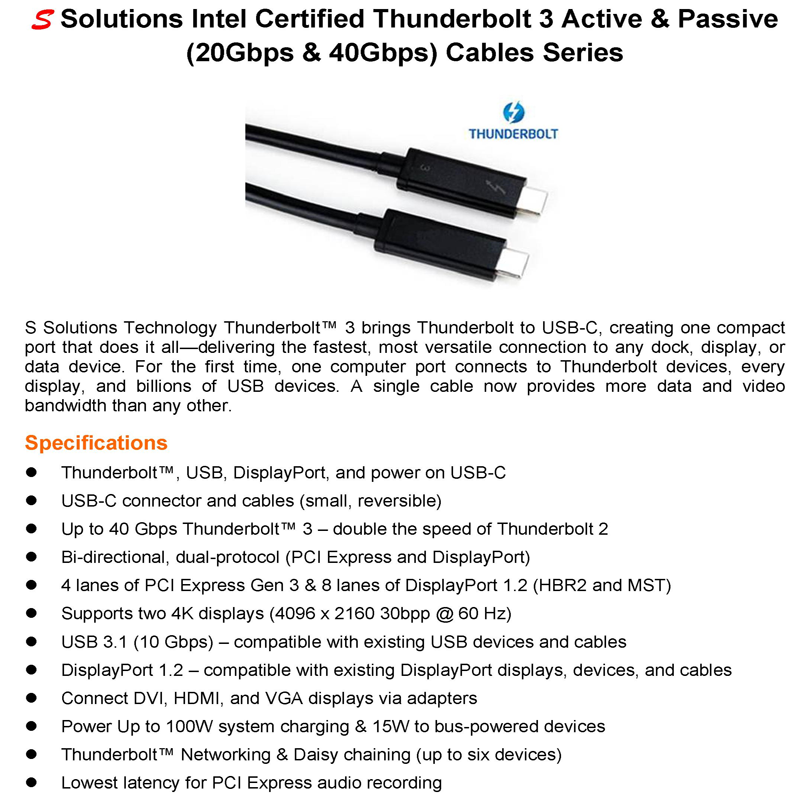 Thunderbolt 3 Active  U0026 Passive Cables Series